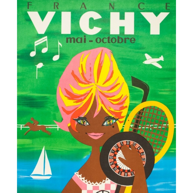 Vintage travel poster - Lefor Openo - Circa 1960 - Vichy Bardot - 39.4 by 24.4 inches - 2