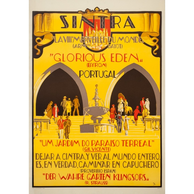 Vintage travel poster - B. - Circa 1930 - Sintra Portugal - 39.4 by 27.2 inches