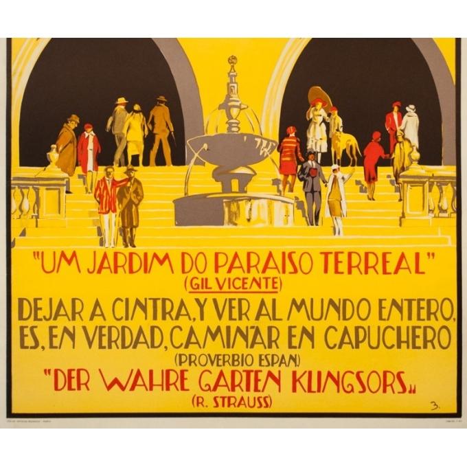Affiche ancienne de voyage - B. - Circa 1930 - Sintra Portugal - 100 par 69 cm - 3