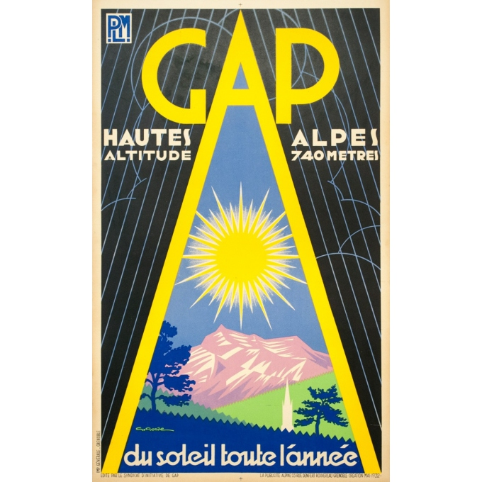 Vintage travel poster - G.Gorde - 1932 - Gap PLM - 39.8 by 24.4 inches
