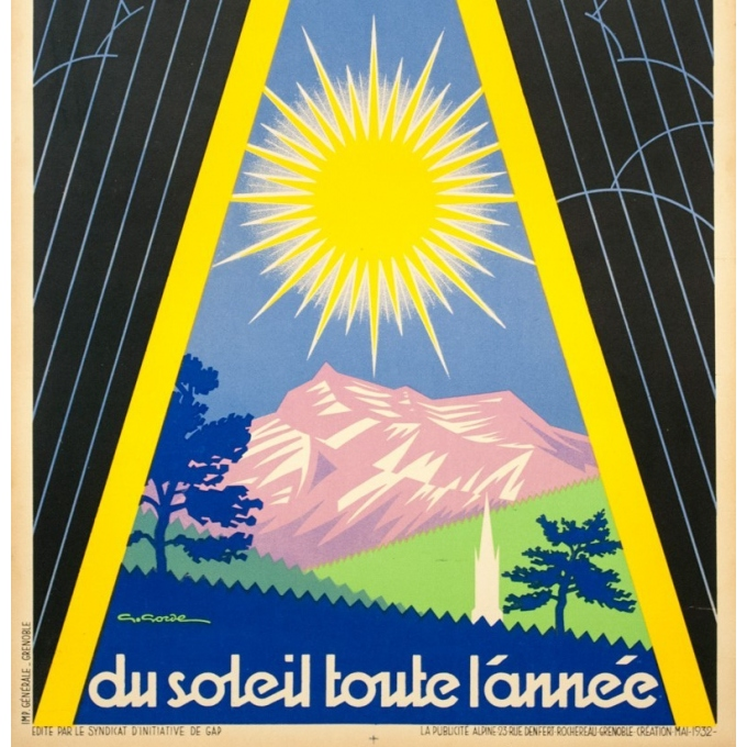 Vintage travel poster - G.Gorde - 1932 - Gap PLM - 39.8 by 24.4 inches - 3