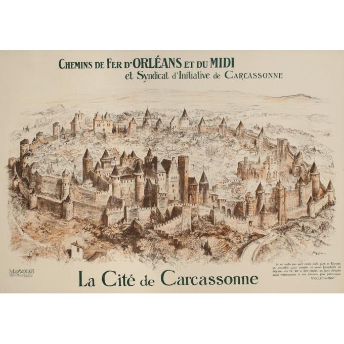 Affiche ancienne de voyage - A.Robida - Circa 1900 - Cité de Carcassonne - 106 par 75 cm