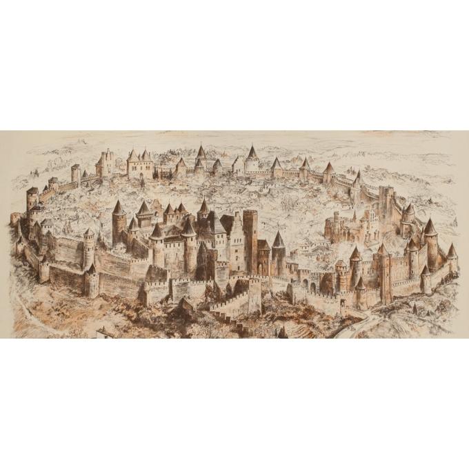 Affiche ancienne de voyage - A.Robida - Circa 1900 - Cité de Carcassonne - 106 par 75 cm - 3