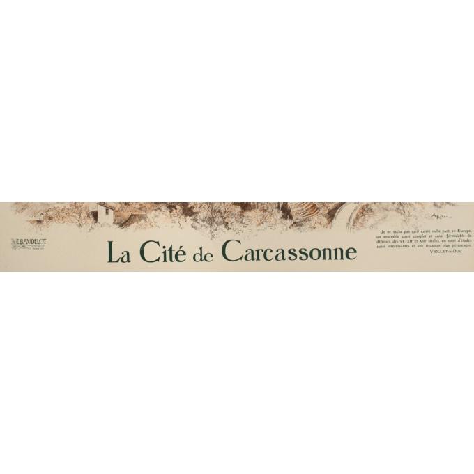 Affiche ancienne de voyage - A.Robida - Circa 1900 - Cité de Carcassonne - 106 par 75 cm - 4