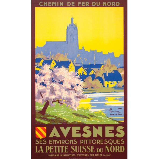 Affiche ancienne de voyage - Pierre Commarmont - 1930 - Avesnes - 101 par 62 cm