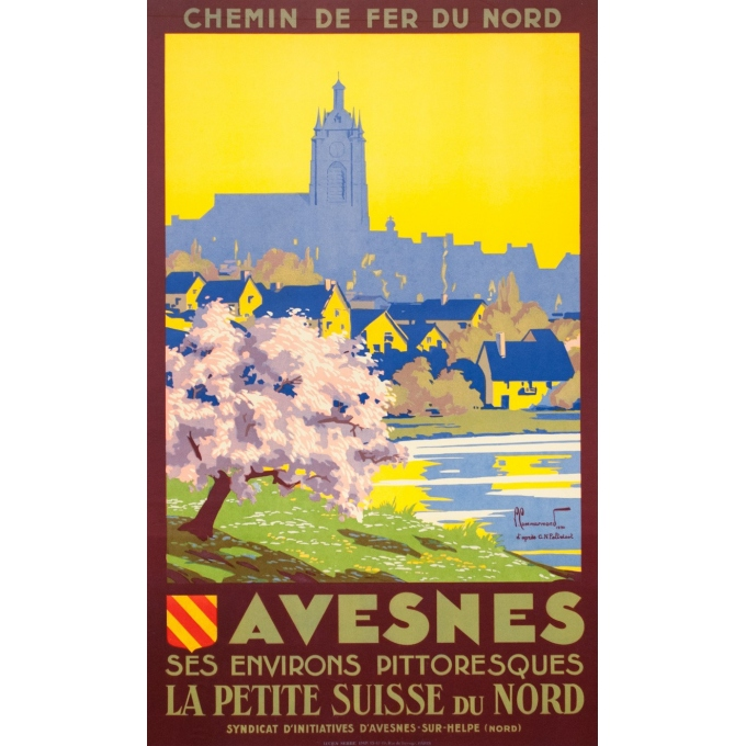 Vintage travel poster - Pierre Commarmont - 1930 - Avesnes - 39.8 by 24.4 inches