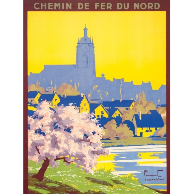 Vintage travel poster - Pierre Commarmont - 1930 - Avesnes - 39.8 by 24.4 inches - 2