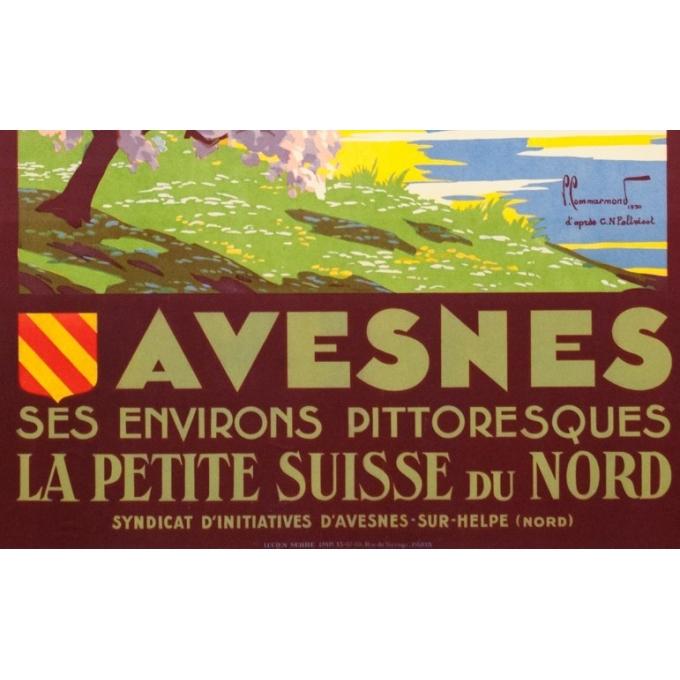 Affiche ancienne de voyage - Pierre Commarmont - 1930 - Avesnes - 101 par 62 cm - 3