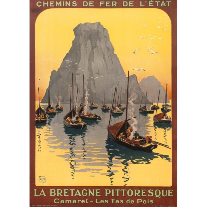 Affiche ancienne de voyage - Hallo - Circa 1925 - Camaret les tas de pois Bretagne - 104.5 par 75 cm