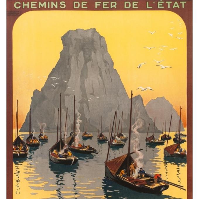 Affiche ancienne de voyage - Hallo - Circa 1925 - Camaret les tas de pois Bretagne - 104.5 par 75 cm - 2