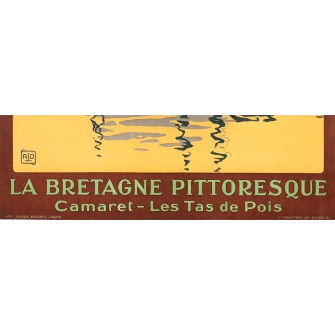 Affiche ancienne de voyage - Hallo - Circa 1925 - Camaret les tas de pois Bretagne - 104.5 par 75 cm - 3