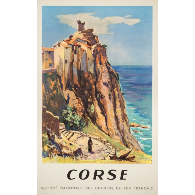 Vintage travel poster - Arthur Fages - 1958 - Corse SNCF - 39.4 by 24.8 inches