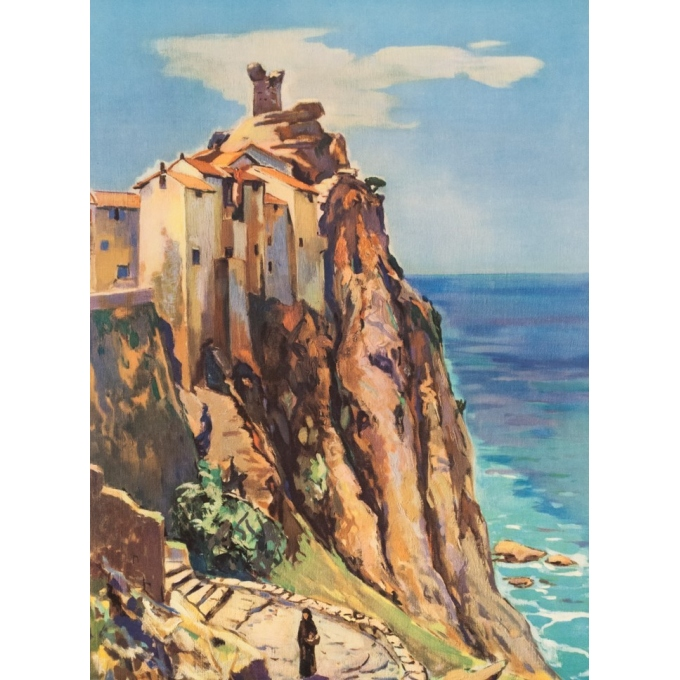 Vintage travel poster - Arthur Fages - 1958 - Corse SNCF - 39.4 by 24.8 inches - 2