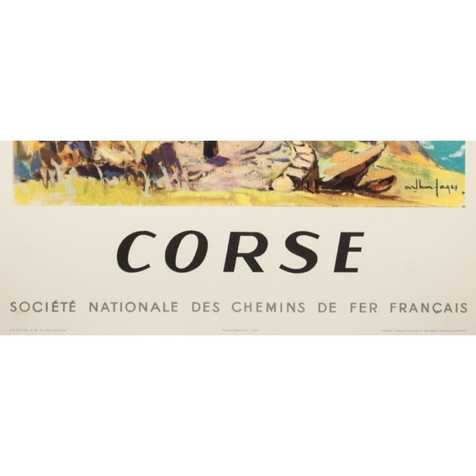 Vintage travel poster - Arthur Fages - 1958 - Corse SNCF - 39.4 by 24.8 inches - 3