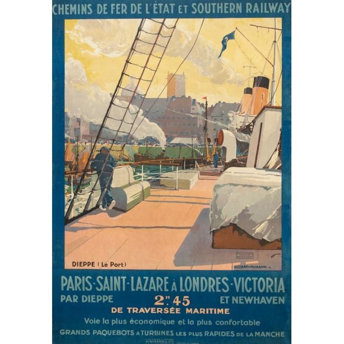 Affiche ancienne de voyage - Guy Marchand  - Circa 1920  - Le Port de Dieppe - 120 par 73 cm
