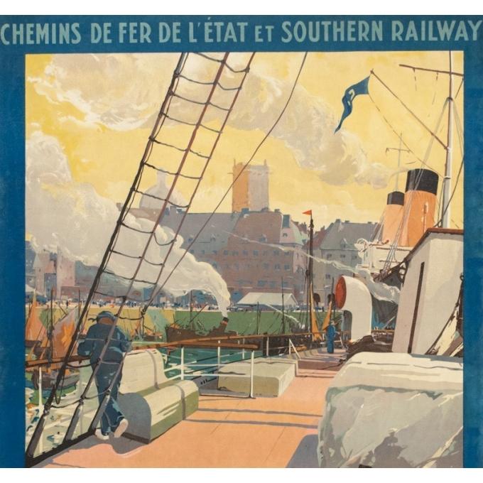 Affiche ancienne de voyage - Guy Marchand  - Circa 1920  - Le Port de Dieppe - 120 par 73 cm - 2