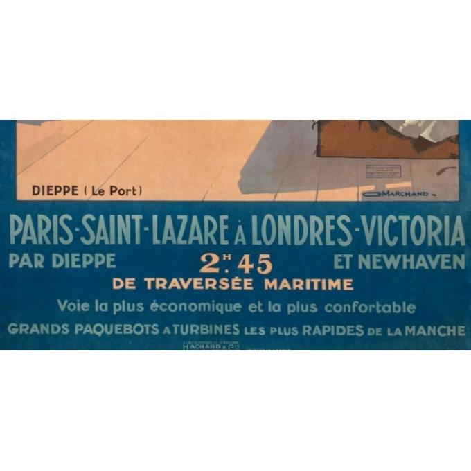 Affiche ancienne de voyage - Guy Marchand  - Circa 1920  - Le Port de Dieppe - 120 par 73 cm - 3