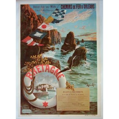 Original poster of western France Belle-Ile-en-Mer. Elbé Paris.
