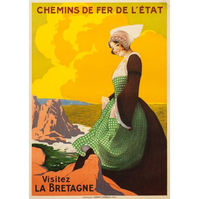 Affiche ancienne de voyage - J. Stall - Circa 1920 - Visitez la Bretagne - 103 par 75.5 cm