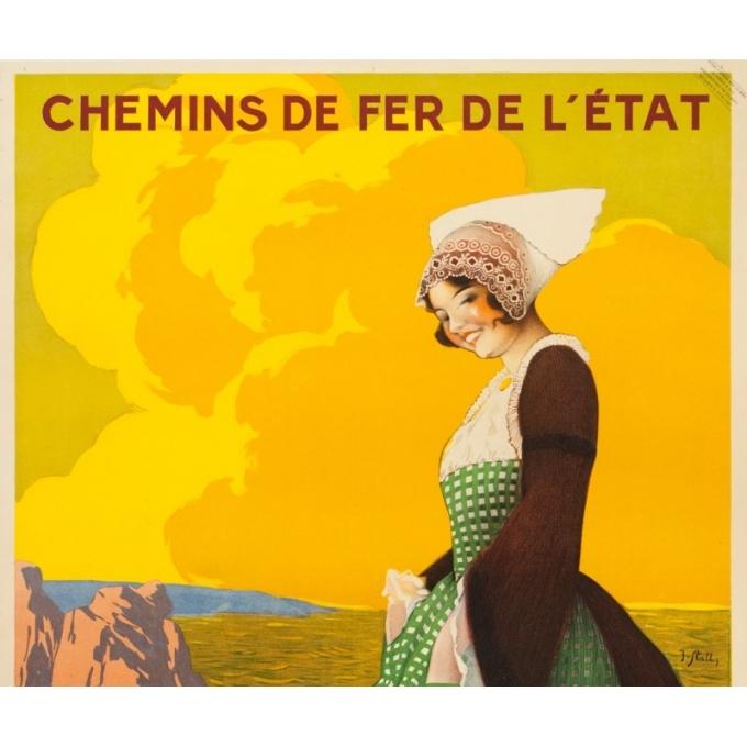 Affiche ancienne de voyage - J. Stall - Circa 1920  - Visitez la Bretagne - 103 par 75.5 cm - 2