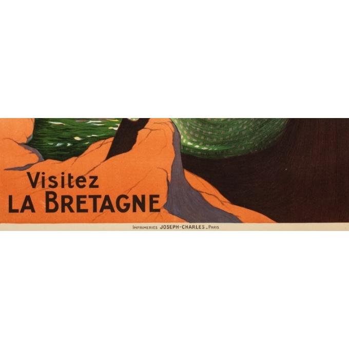 Vintage travel poster - J. Stall - Circa 1920 - Visitez la Bretagne - 40.6 by 29.7 inches - 3