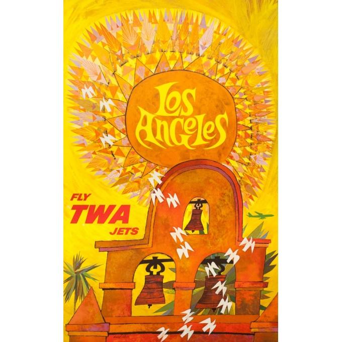 Affiche ancienne de voyage - David Klein - Circa 1965 - TWA Los Angeles Californie USA - 101 par 63.5 cm