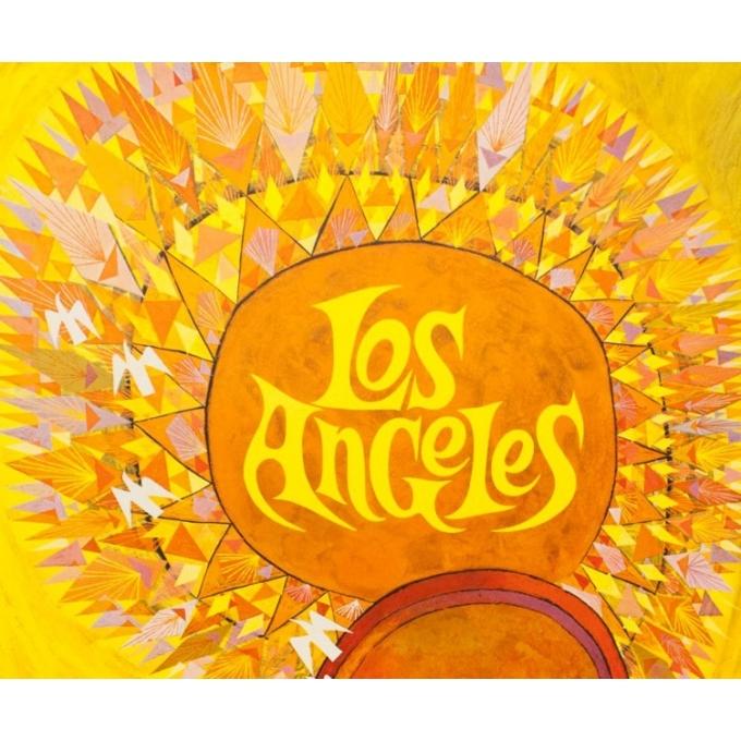 Affiche ancienne de voyage - David Klein - Circa 1965 - TWA Los Angeles Californie USA - 101 par 63.5 cm - 2