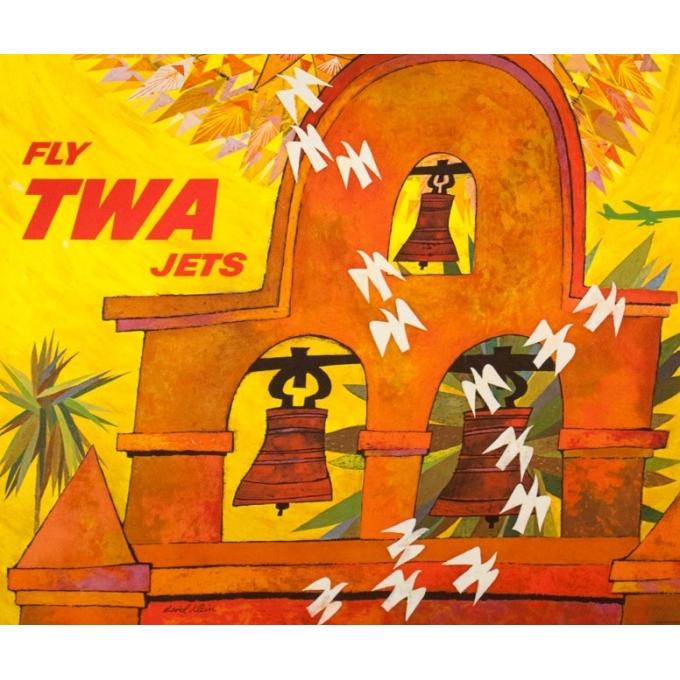 Affiche ancienne de voyage - David Klein - Circa 1965 - TWA Los Angeles Californie USA - 101 par 63.5 cm - 3