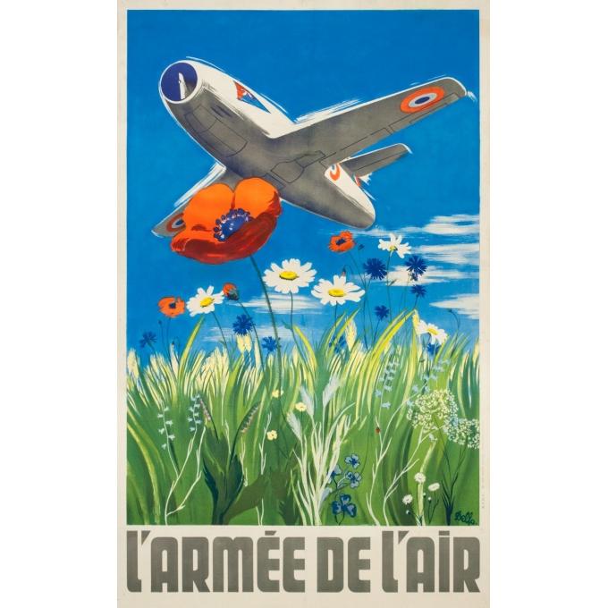 Vintage advertising poster - Delfo - Circa 1950 - L'armée de l'air  - 38.6 by 23.6 inches