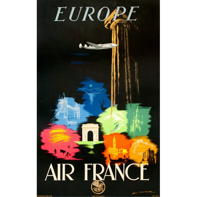 Vintage travel poster - Maurus - 1948 - Air France Europe - 38.6 by 24 inches