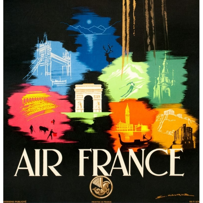Vintage travel poster - Maurus - 1948 - Air France Europe - 38.6 by 24 inches - 3