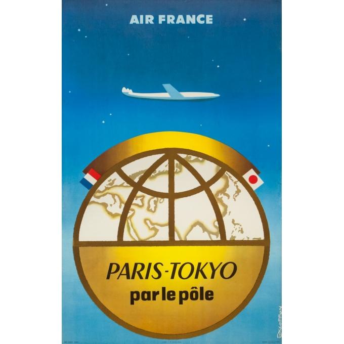 Affiche ancienne de voyage - Excoffon - 1958 - Air France Paris Tokyo Japon - 100 par 63 cm