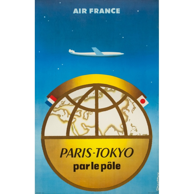 Vintage travel poster - Excoffon - 1958 - Air France Paris Tokyo Japon - 39.4 by 24.8 inches