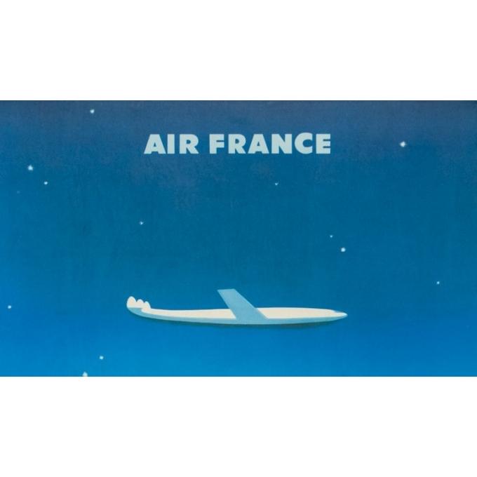 Affiche ancienne de voyage - Excoffon - 1958 - Air France Paris Tokyo Japon - 100 par 63 cm - 2