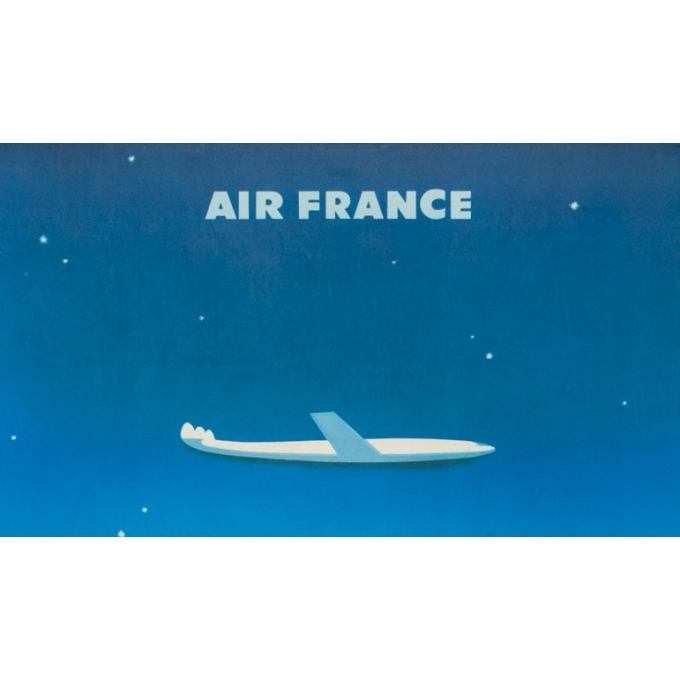 Vintage travel poster - Excoffon - 1958 - Air France Paris Tokyo Japon - 39.4 by 24.8 inches - 2