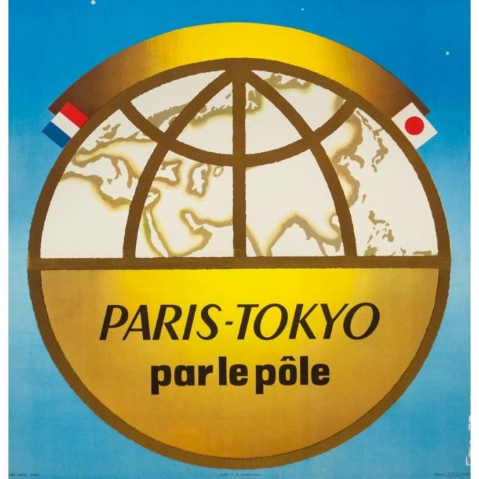 Affiche ancienne de voyage - Excoffon - 1958 - Air France Paris Tokyo Japon - 100 par 63 cm - 3