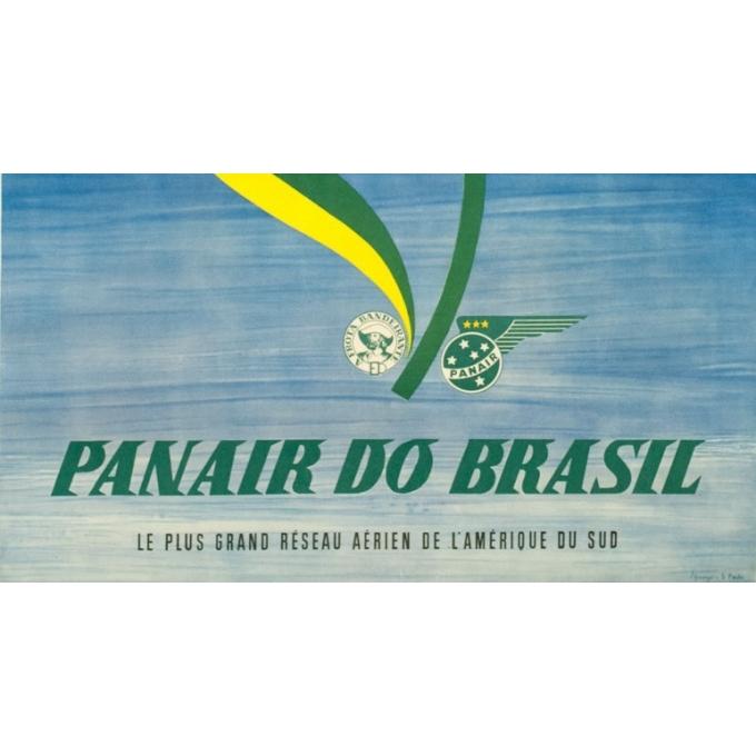 Affiche ancienne de voyage - S. Paulo - Circa 1955 - Panair Brasil Brésil - 101 par 63 cm - 3