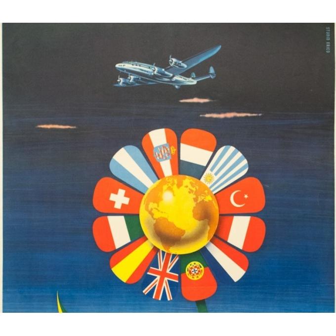 Vintage travel poster - S. Paulo - Circa 1955 - Panair Brasil Brésil - 39.8 by 24.8 inches - 2