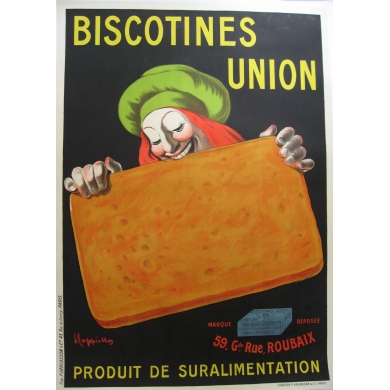 An original french vintage poster of the brand Biscotines union. Elbé Paris.