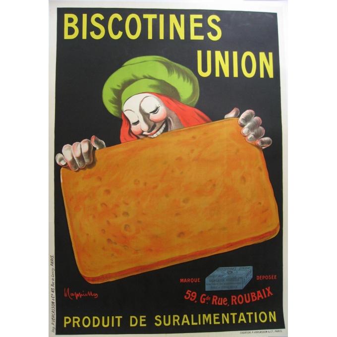 An original french vintage poster of the brand Biscotines union. Elbé Paris.