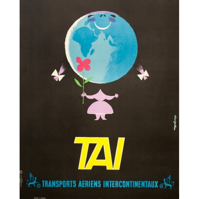Vintage travel poster - Alain Gauthier - Circa 1955 - TAI - 38.6 by 24.4 inches - 3