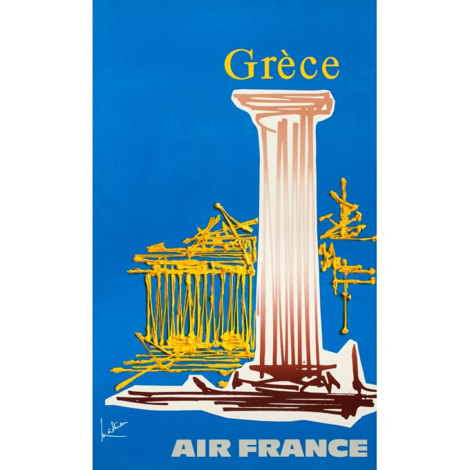 Vintage travel poster - Georges Mathieu - Circa 1960 - Air France Grèce - 39.4 by 23.6 inches