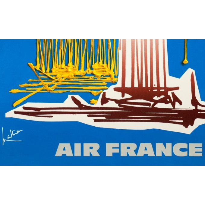 Vintage travel poster - Georges Mathieu - Circa 1960 - Air France Grèce - 39.4 by 23.6 inches - 3