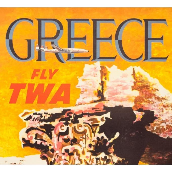 Affiche ancienne de voyage - David   - Circa 1960 - TWA Greece Grèce  - 101.5 par 63.5 cm - 2