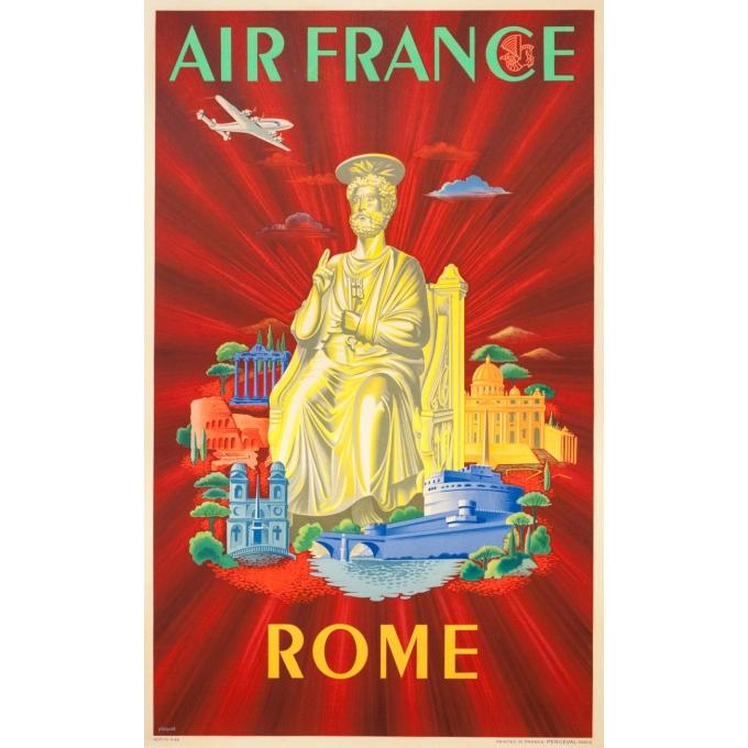 Affiche ancienne de voyage - Plaquet - 1949 - Air France Rome Roma italie Italia - 99 par 60 cm