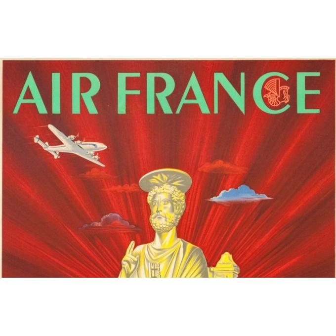 Affiche ancienne de voyage - Plaquet - 1949 - Air France Rome Roma italie Italia - 99 par 60 cm - 2