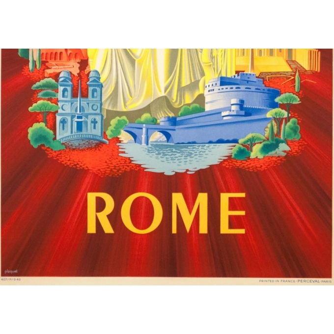 Vintage travel poster - Plaquet - 1949 - Air France Rome Roma italie Italia - 39 by 23.6 inches - 3