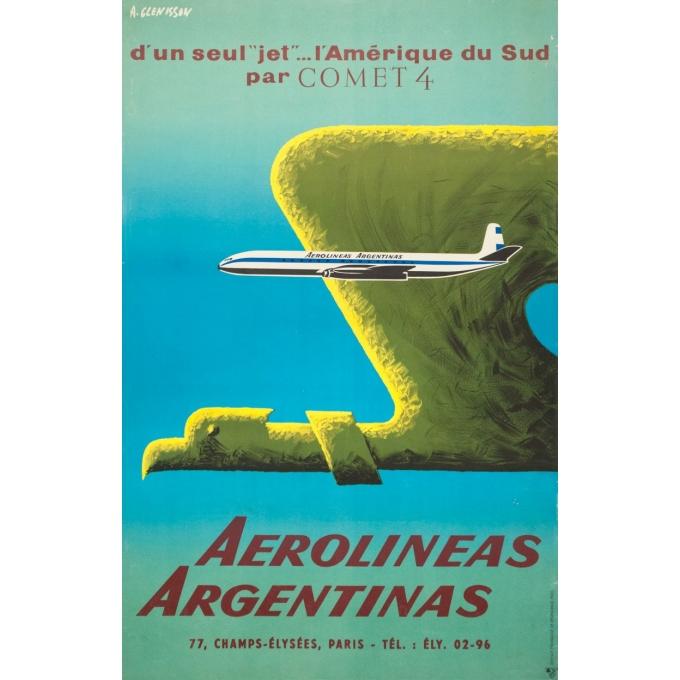 Affiche ancienne de voyage - Glenisson - Circa 1955 - Aerolinas Argentinas Argentine - 99.5 par 64 cm