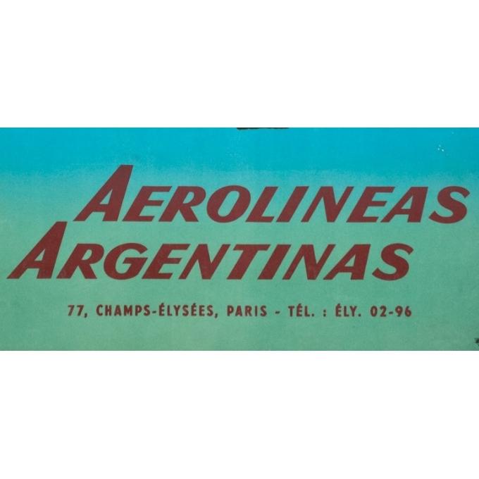 Affiche ancienne de voyage - Glenisson - Circa 1955 - Aerolinas Argentinas Argentine - 99.5 par 64 cm - 3