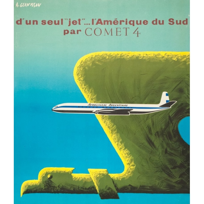 Affiche ancienne de voyage - Glenisson - Circa 1955 - Aerolinas Argentinas Argentine - 99.5 par 64 cm - 2